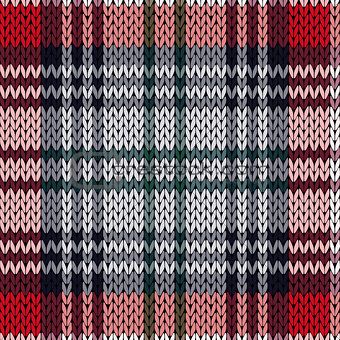 Knitting seamless pattern in red, pink and grey hues