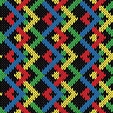 Seamless zigzag knitting blanket in bright colors