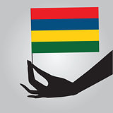 Hand with flag Mauritius