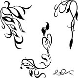 Set decorative design elements, calligraphic flourishes page decor