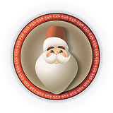 silhouette of Santa Claus in round frame