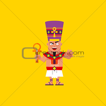 King of Egypt, Pharaoh character for halloween in a flat style