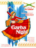 Woman playing Dandiya in disco Garba Night poster for Navratri Dussehra festival of India
