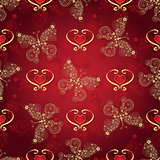 Valentine seamless dark red pattern
