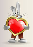 sneaky little Bunny holds in hands red heart