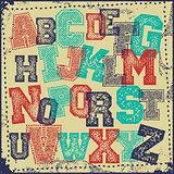 Vintage grunge alphabet vector set