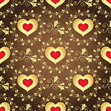 Valentine seamless brown pattern