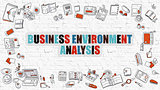 Multicolor Business Environment Analysis on White Brickwall.