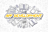 App Development - Doodle Yellow Word. Business Concept.