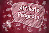 Affiliate Program - Doodle Illustration on Red Chalkboard.