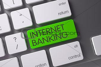 Green Internet Banking Keypad on Keyboard. 3D.