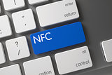 NFC - Blue Keyboard Key. 3D.