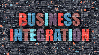 Business Integration in Multicolor. Doodle Design.