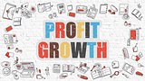 Profit Growth Concept with Doodle Design Icons.