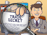 Trade Secret through Magnifier. Doodle Style.