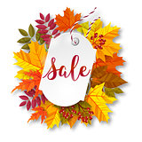 Autumn sale label. Vector illustration