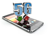 Mobile phone with 5G network standard communication. High speed
