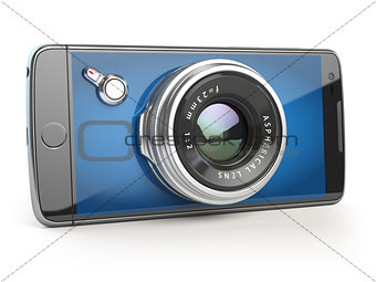Smartphone digital camera concept. Mobile phone with camera lens