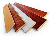 Parquet o laminate wooden planks of the different colors on whit