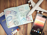 Travel and tourism concept. Passport with visas and boarding pas