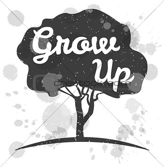 Grow Up. Concept. Tree Crown. Poster or print. Vector Illustration