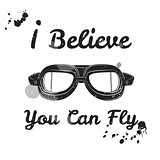 I believe you can fly. Retro aviator pilot glasses goggles. Vintage object. Vector Illustration. Print with ink blot. Motivation poster