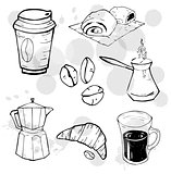 Coffee to go cup, Coffee beans. Long-handled coffeemaker. Pastry. Doodle elements set. Design concept. Vector Illustration.