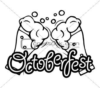 Clink Beer Glasses. Oktoberfest beer mug. Best craft beer. Vector illustration. Octoberfest label. Isolated on white.