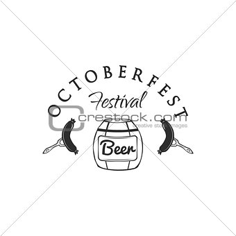 Oktoberfest beer keg, barrel, cask. sausages, snacks. Beer retro vintage badge, logo, emblem, label. Vector illustration.