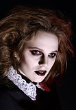Horror shot: closeup portrait of scary gothic girl