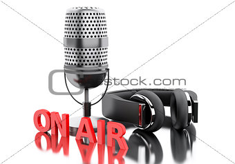 3d On air word with a microphone and headphones.