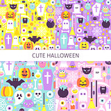 Cute Halloween Seamless Pattern Set