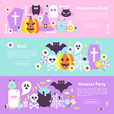 Trendy Halloween Web Horizontal Banners