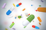 Falling colorful pills - 3D illustration