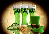 St Patrick's Day concept green beer with shamrock. 3D render