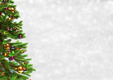 Decorated christmas tree on bokeh background. 3D illustration