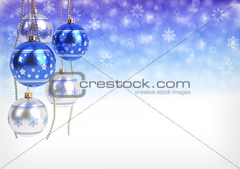 blue and silver christmas balls hanging on bokeh background. 3D render