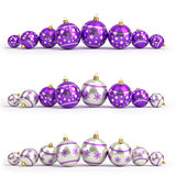 Collection of purple and silver christmas balls. White isolated. 3D render