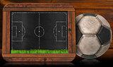 Blackboard with Football Field and Ball
