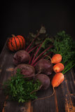 Vegetables and pumpkin a low key in style  rustic