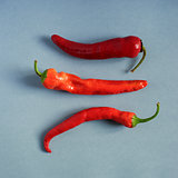 Red hot peppers on textured paper