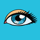 Blue female eyes girl or woman