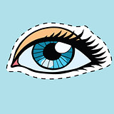 Blue female eyes girl or woman label sticker