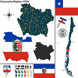 Map of Araucania, Chile