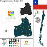 Map of Arica y Parinacota, Chile