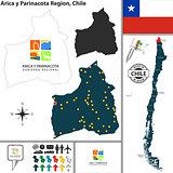 Map of Arica y Parinacota, Chile