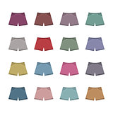 Set of colored shorts, vector illustration.
