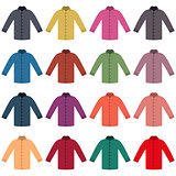 Set of colored shirts, vector illustration.