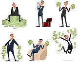 Six businessmen with money