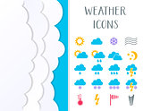 Colorful vector weather icons collection